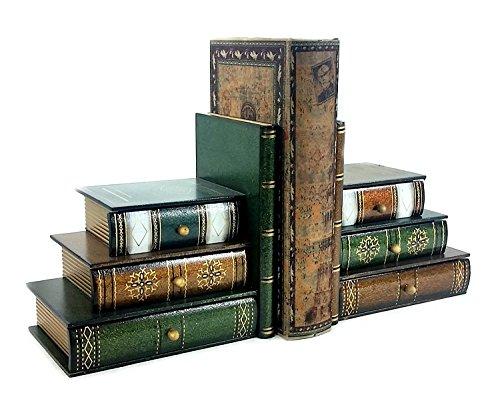 Bellaa Buchstützen aus Holz mit versteckten Schubladen