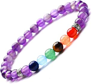 Reizteko Men Women 8mm Lava Rock 7 Chakra Diffuser Bracelet Elastic Natural Stone Yoga Beads Bracelet Bangle (z - 6mm Amet...