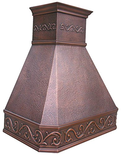 "Sinda natural beautiful copper kitchen hood, handcrafted by skilled artisan, comes with high air flow motor fan, 48""wx42""h island mount, smooth-natural copper, h14ba-sni4842 5 size: island mount 48""wx42""h. The width of an island mount copper range hood should be 3-6 inches wider than the cooktop. And the height range between your cooktop and the copper range hood should be from 30 to 36 inches. We suggest a height of 36 inches for an island mount. Custom sizes available upon request by email. Material: 16 gauge pure virgin copper. Patina&texture: smooth; natural copper. Want to touch a real finish? You may click on this link: https://www. Amazon. Com/dp/b07q3fs4nq. Basic equipment: stainless steel 304 vent with liner and internal motor, reusable baffle filter, grease channel, yellow led lights(3w 12v) and 4-speed control; powerful airflow fan: (30""/36""w: single motor, 610 cfm, 6"" round duct; 42""/48""w: dual motors, 960cfm, 8"" round duct); ductless and remote blowers with in-line liner options available upon request by email;"