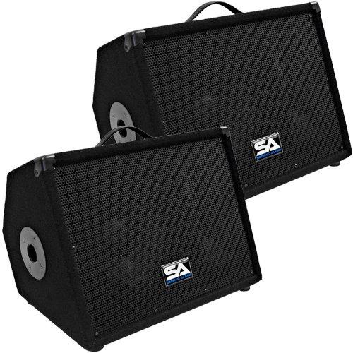 """Pair of 10"""" Floor Monitors Studio, Stage, or Floor use - PA/DJ Speakers - Bar, Band, Karaoke, Church, Drummer use"""