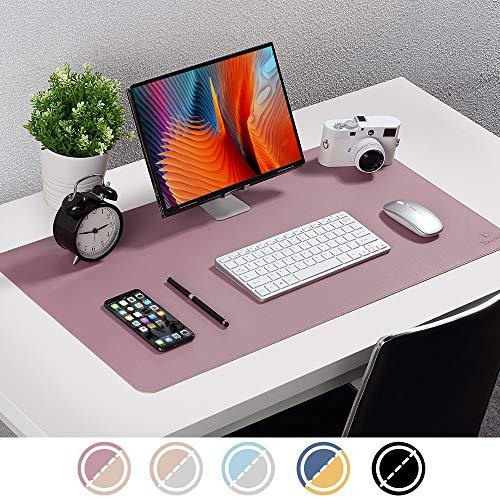 Upgrade Knodel Tischunterlage, Schreibtischunterlage, 80cm x 40cm PU-Leder Tischunterlage, Laptop Tischunterlage, wasserdichte Schreibunterlage für Büro- oder Heimbereich, doppelseitig (Purpur / Rosa)
