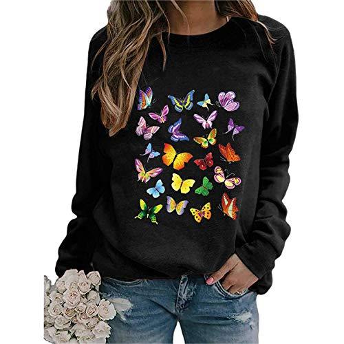 skiyy Sudadera Mujer Sudadera con Estampado de Mariposas Camisetas de Manga Larga con Cuello Redondo Informal Pullover Blouse Tops 2021 (Negro, L)