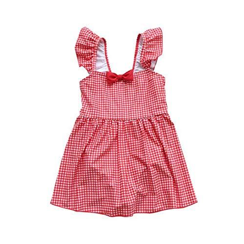 (アプラル)APRAL スクール水着 キッズ・ジュニア女児用 ワンピース タイプ リボン付き 子供水着 RT1912 (赤, 90)