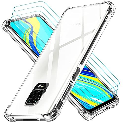 iVoler Cover per Xiaomi Redmi Note 9S / Xiaomi Redmi Note 9 PRO, Antiurto Custodia con Paraurti in TPU Morbido e 3 Pezzi Pellicola Vetro Temperato, Ultra Sottile Trasparente Silicone Protettiva Case