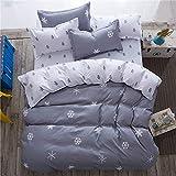 Inicio Sistema del lecho edredones ropa de cama lado AB de lámina plana ropas de cama funda de almohada para adultos cuadrícula lecho casero conjunto cubierta de la cama,copo de nieve,Rey,hoja plana