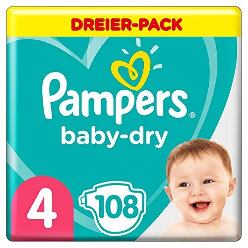 Pampers Baby-Dry Windeln, Gr. 4, 9kg-14kg, Dreier-Pack (1 x 108 Windeln)