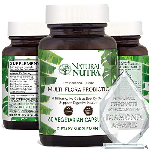 Natural Nutra Ultimate Flora Probiotic for Women and Men, Improves Digestion, Promotes Healthy Immune System, Helps Reducing Inflammation, Multi Strain with Lactobacillus, Acidophilus, 60 Capsules