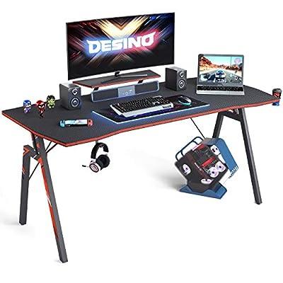 DESINO Gaming Desk PC Computer Desk, Home Office Desk Table Gamer Workstation with Cup Holder and Headphone Hook, Black