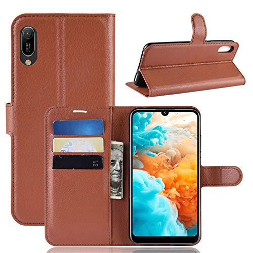 betterfon | Huawei Y6 2019 Hülle Handy Tasche Handyhülle Etui Wallet Hülle Schutzhülle mit Magnetverschluss/Kartenfächer für Y6 2019 Braun