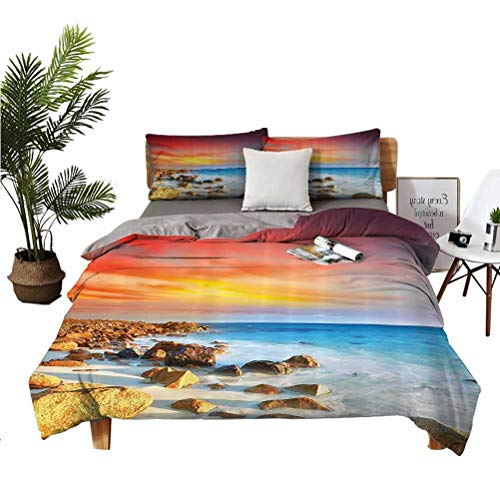 Seaside Decor Collection 3-Piece Set of 100% Washed Microfiber Sunrise Over Seashore Stone on The Foreground Caribbean Morning View Picture Super Soft Anti-Wrinkle Breathable California