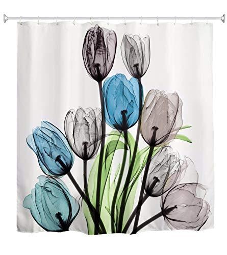 A.Monamour Efecto De Rayos X Azul Gris Flor De Tulipán Arte Floral Estampado De Fondo Blanco Cortina De Ducha De Tela De Poliéster Impermeable con Ganchos para Baño 180x200cm
