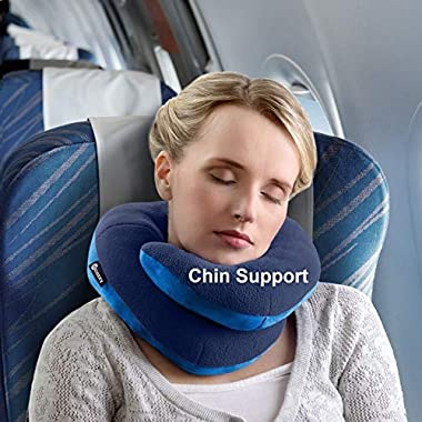 BCOZZY Chin Supporting Travel Neck Pillow - Supports the Head, Neck and Chin in Maximum Comfort in Any Sitting Position. A Patented Product. Adult Size, NAVY