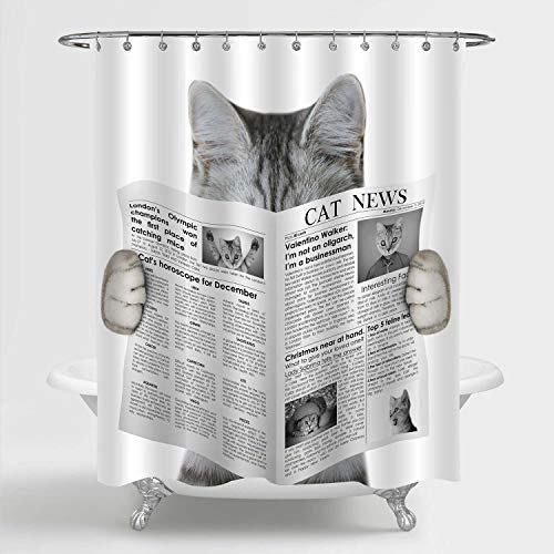 MitoVilla Cute Cat Reading a Newspaper Shower Curtain Set with Hooks, Funny Cat Themed Gifts for Baby Kids and Teen Children Bathroom Decor, Grey, 72' W x 78' L Long for Bathtub and Shower Stall