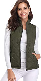 Women's Padded Vest, Stand Collar Lightweight Zip Quilted...