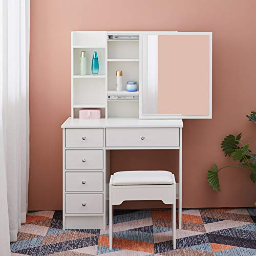 OFCASA Dressing Table with Slide Mirror and Stool 5 Drawers White Makeup Desk with Shelves Vanity Storage Table for Girl Bedroom