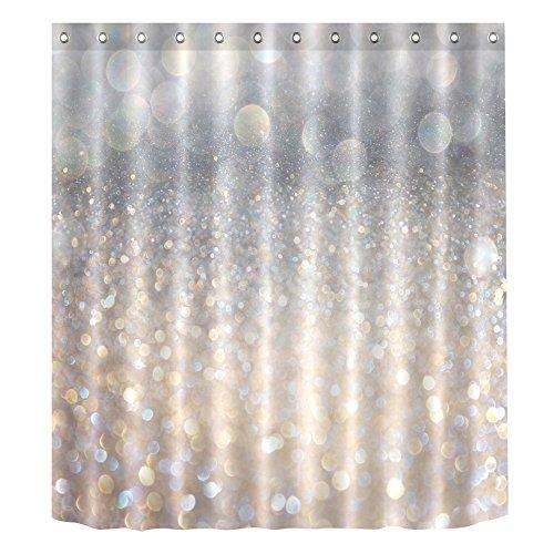 romantischen wasserdicht Bade-Duschvorhänge, antibakteriell und schimmelresistent, Polyester Bad Vorhang Dekor, White Starlight, 180x200