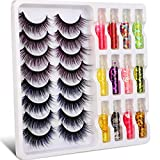 15mm Natural Wispy False Lashes Fluffy Blue and Purple Faux Mink Fake Eyelashes Pack and Art Eye Decoration 8 Pairs Colorful Thick Volume Lashes Set