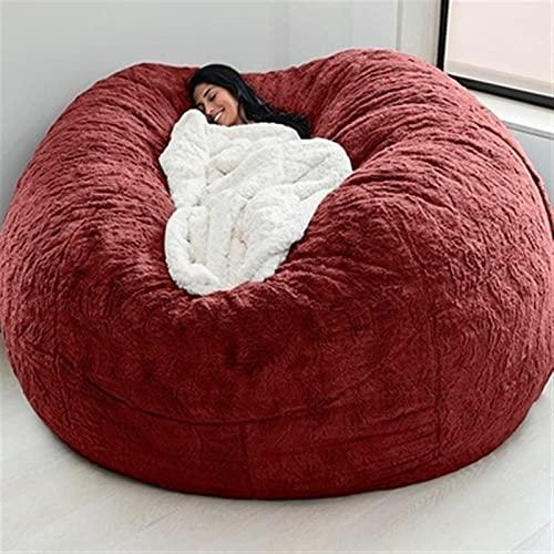 Böna väska soffa jätte faux päls två-sits beanbag stol, kärlek sittplats böna väskor (Color : Rose red)
