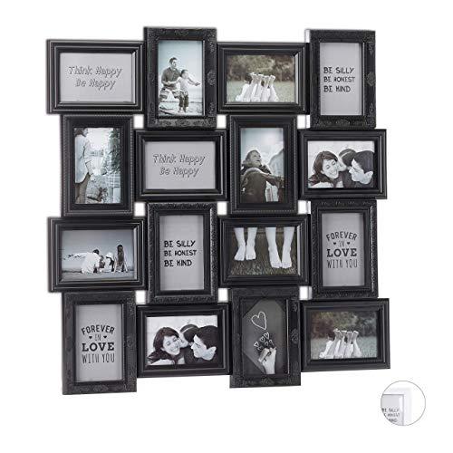 Relaxdays Marco múltiple para 16 Fotos, 9 x13, Formato Vertical y Horizontal, Plástico, Negro, 70 x 70 cm