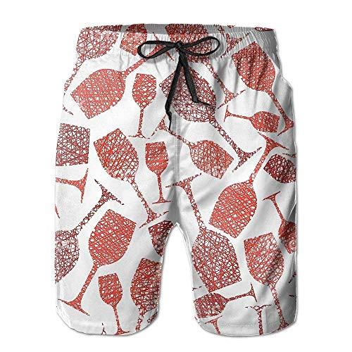 yting Weinglas Red Clip Arts Herren Beach Shorts Badehose Badebekleidungsshorts