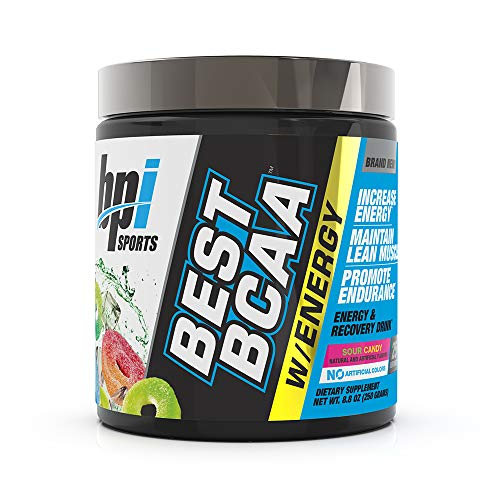 BPI Sports Best BCAA with Energy - Healthy BCAA Powder - Improved Performance - Lean Muscle Building - Accelerated Recovery - Proprietary Energy Blend - Sour Candy - 25 Servings - 8.8 oz. (BP114)