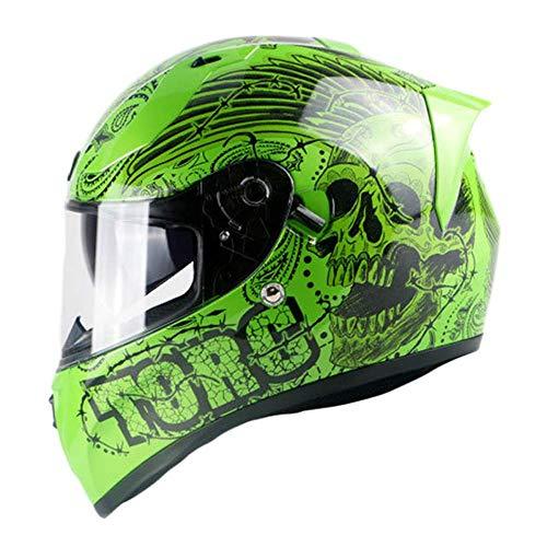 LVLUOYE Motorradhelm Integralhelm Bluetooth-Headset Doppel-Anti-Fog-Offroad-Helm weiß grün Staub Offroad-Rennen Kreuzer-Grün, M