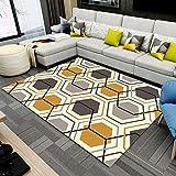 LMDY Alfombra para el hogar nórdico Moderno Minimalista hexágono celosía geométrica Sala de Estar sofá Dormitorio Manta de Noche Alfombra de EstudioBeige160*200cm