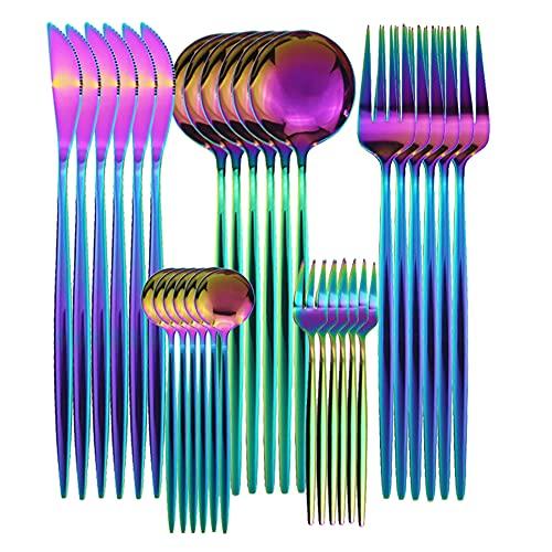 XKMY Juego de 6 – 30 piezas de vajilla de oro rosa con espejo, vajilla de acero inoxidable, cubertería de cocina, cubertería occidental (color : arco iris)