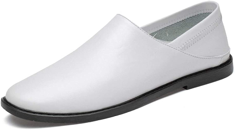 EGS-schuhe Freizeit Driving Loafers für Mnner Rasual Flat Penny Schuhe Slip-on Soft Echtes Leder Lightweight Wear Resistant,Grille Schuhe (Farbe   Wei, Gre   43 EU)
