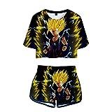 Dragon Ball Set Crop Tops + Pantalones Cortos Casuales Impresión Digital 3D Camiseta y Pantalones Cortos T-Shirts Dos Piezas De Verano para Amantes del Anime Super Saiyan Son Goku Son Gohan