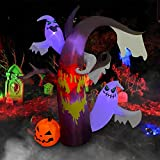BESTPARTY 7ft Inflatable Halloween Ghost Tree LED Blow Up Lighted Decor Indoor Outdoor Holiday Art Decor Decorations