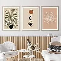 壁アート太陽と月自由奔放に生きる抽象的な風景キャンバスポスター絵画リビングルームのインテリアの家の装飾のための印刷写真40x60cmx3フレームレス