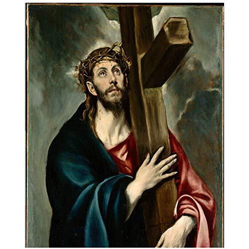 Jesús famoso lienzo pintura por pintor español arte de la pared lienzo pintura cristo cuadros decorativos sala de estar decoración -60x80cmx1pcs- sin marco