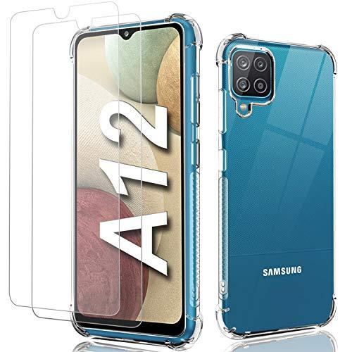 Shock-Absortion - Carcasa para Samsung A12, transparente + 2 protectores de pantalla de cristal templado, TPU y silicona