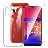 LJSM Hülle für Oppo Realme C3 + [3 Stück] Panzerglas Bildschirmschutzfolie - Transparent Weich Silikon Schutzhülle Flexibel TPU Tasche Hülle für Oppo Realme C3 (6.5