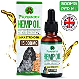 Pawsome Products Hemp Oil for Dogs, Cats & Pets | High Strength 15000mg / 30ml | Rich in Omega 3 & 6 | Stress/Anxiety/Pain Relief, Calming, Supporting Hip & Joint Health | Organic | Made in UK