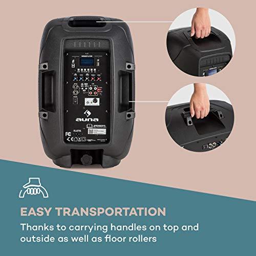 auna Streetstar - Mobile PA-Anlage Musikanlage, Bluetooth, USB-Port, SD, MP3, AUX-In, Akku, LED-Display, (10