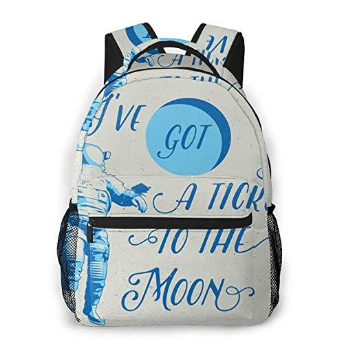 Sac à Dos Femme Homme College Scolaire Sac Sac à Dos Got Ticket to Moon Astronaut, Sac École Fille Garçon Cartable Collège Sac D'école