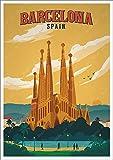 tzxdbh 40x60CM(NO Frame) Lienzo de Arte Pop Art de Barcelona de Europa y España, s Vintage Kraft, Carteles Recubiertos, Pegatinas para Pared, decoración del hogar, Regalo Familiar