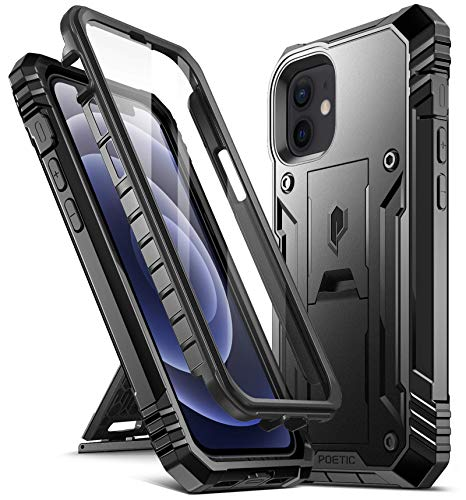 Poetic Revolution Series for iPhone 12 Mini 5.4 inch Case, Full-Body Rugged Dual-Layer Shockproof Protective Cover with Kickstand and Built-in-Screen Protector, Black
