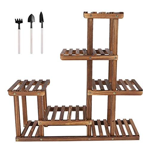 BigBig Style Wooden Flower Shelf Multi Tiers Garden Plant Stand Balcony Display Storage Holder Shelves for Indoor Outdoor Use