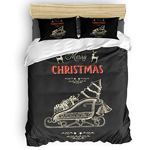 HARXISE 3 Piece Microfiber Ployester Fabric Duvet Cover Set Merry Christmas Cartoon Elk Sleigh Gift with Bells Bedding Sets