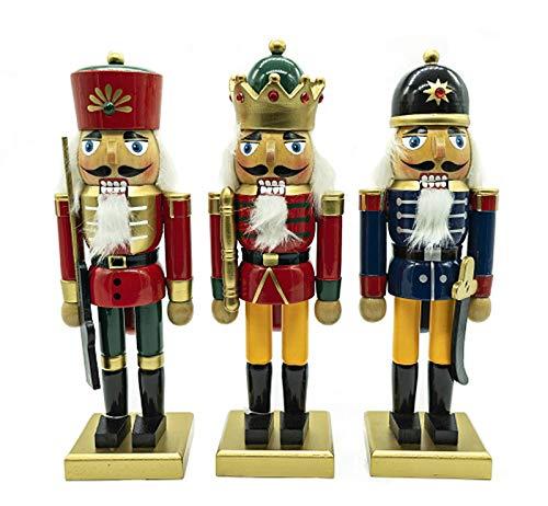 Peters-Living 3X Nussknacker Holzfigur Weihnachten Dekofiguren Polizist König Soldat Xmas