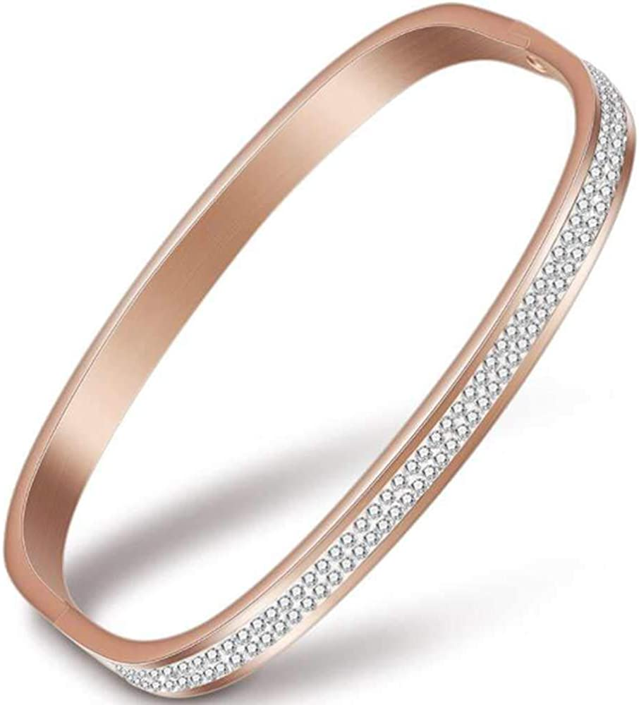 Jude Jewelers Stainless Steel Square Shape Cubic Zircon Open Cuff Bangle Bracelet