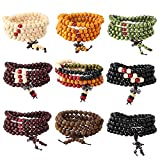 Yadoca 9 Pcs Bead Bracelet For Men Women 108 Mala Beads Bracelets Sandalwood Link Wrist Necklace 8mm Wood Bracelet For Men