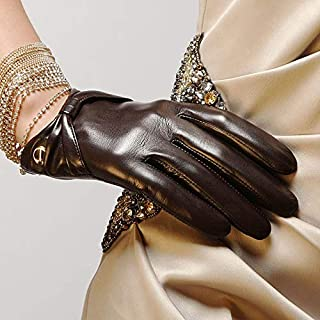 SHENTIANWEI Leather Gloves Ladies Thin Bow Temperament Gloves (Color : Brown, Size : XL)