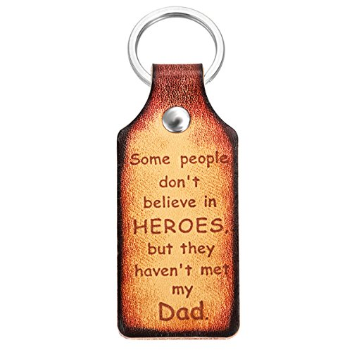 """Dad Keychain Gift, Father's Day Gifts Leather Keychain for Dad from Daughter or Son -""""Some people don't believe in HEROES, but they haven't met my dad"""" Key Chain for Daddy Birthday Gifts With Gift Box"""