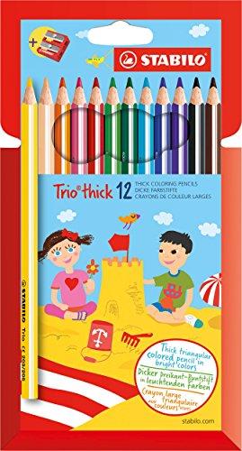 Matita colorata triangolare - STABILO Trio thick - Astuccio da 12 + temperino - Colori assortiti