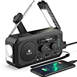 【2021 Newest】Emergency Radio, 5000mAh Hand Crank Solar Weather Radio, 5 Ways Powered NOAA/AM/FM Weather Alert Portable Radio with Flashlight, Reading Lamp, CellPhone Charger, Headphone Jack, SOS Alarm