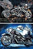 2 Stück 5D Diamond Painting, Harley Davidson Motorrad